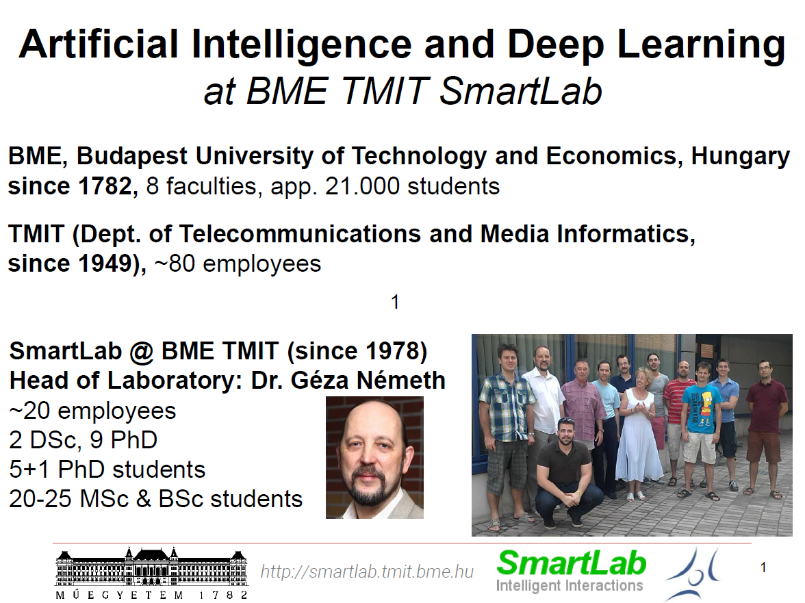 Artificial Intelligence and Deep Learning at BME TMIT SmartLab